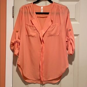 Coral Long Sleeved Blouse